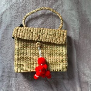 Tweed Bag with Red Ball Accents